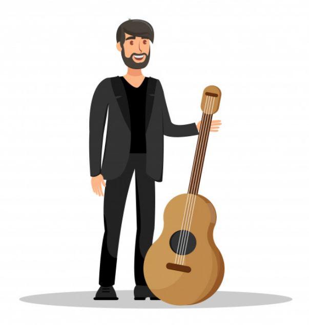זמר עם גיטרה ציור