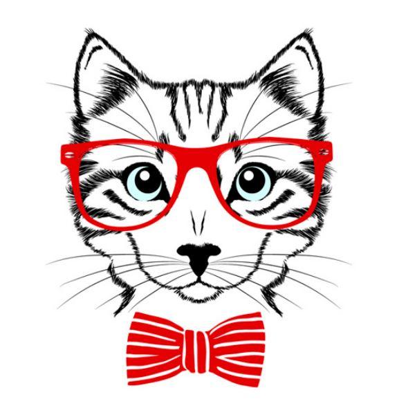 חתול עם משקפיים ציור
