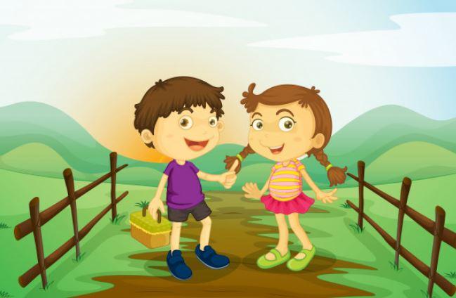 שני ילדים ציור באילוסטרייטור