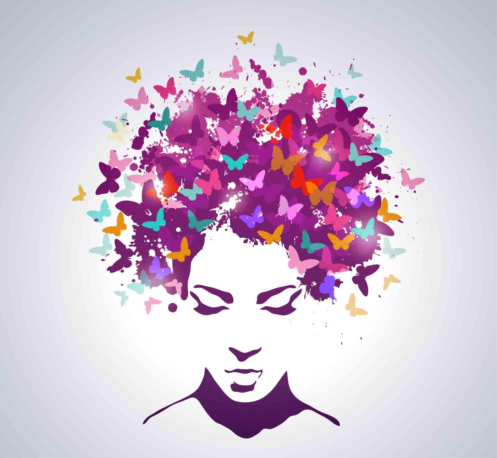 ציור אישה עם פרפרים על הראש