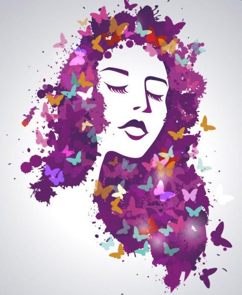 ציור באילוסטרייטור אישה עם פרחים