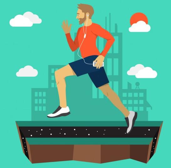 ציור דיגיטלי איש רץ